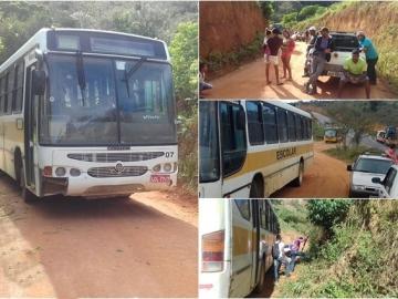 Ônibus escolar acaba combustível e interdita estrada na zona rural de Itabela