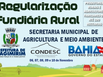 Secretaria de Agricultura informa que Regularização Fundiária Rural acontece de 06 à 10 de novembro