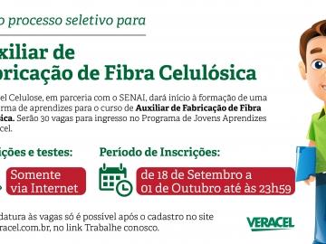 Veracel Celulose abre processo seletivo para Auxiliar de Fabricação de Fibra Celulósica
