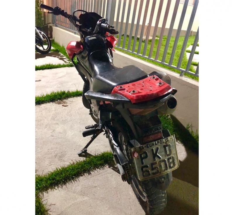 Moto roubada que foi recuperada pela polícia. (Divulgação: PM-BA)