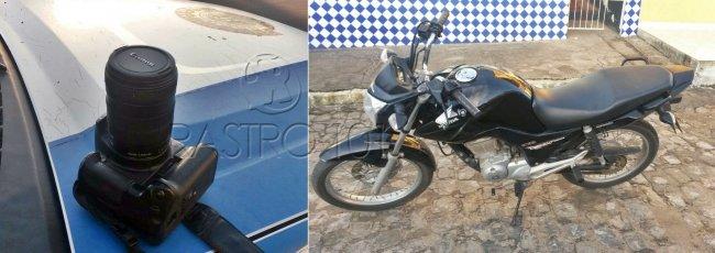 O celular, a máquina fotográfica e moto roubada foram recuperadas na ação. (Foto: Polícia Militar)