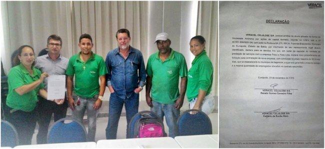 Trabalhadores da Pires Pires e representantes da Veracel Celulose em uma reunião realizada nessa segunda-feira. (Foto: Divulgação)