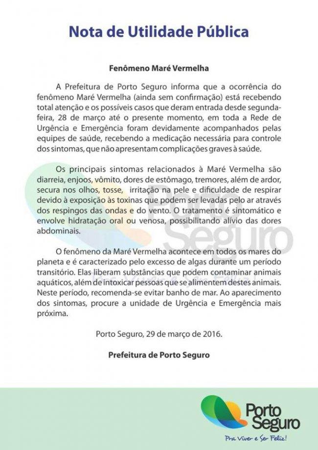 Nota da prefeitura de Porto Seguro