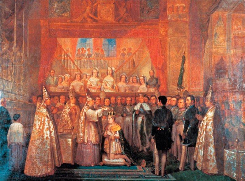 A coroação de dom Pedro II, em 1841, foi o mote da segunda letra do Hino Nacional (pintura de François-René Moreaux)