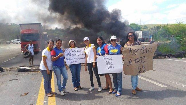 Agentes Comunitários de Saúde de Itagimirim aderiram à manifestação em Itapebi. (Foto: Divulgação)