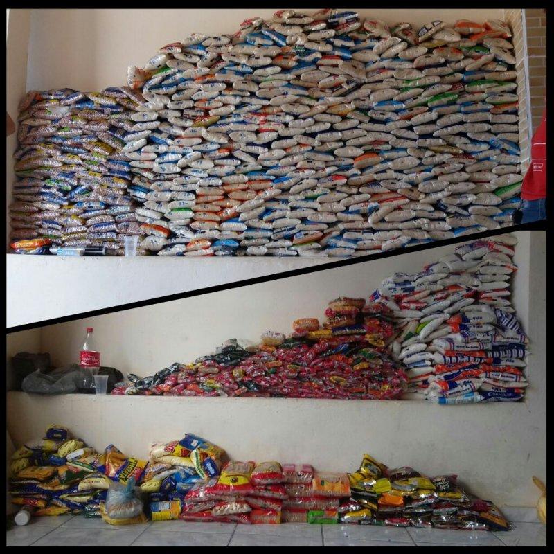 Pouco mais de 1 tonelada de alimentos foram arrecadados. (Divulgação)