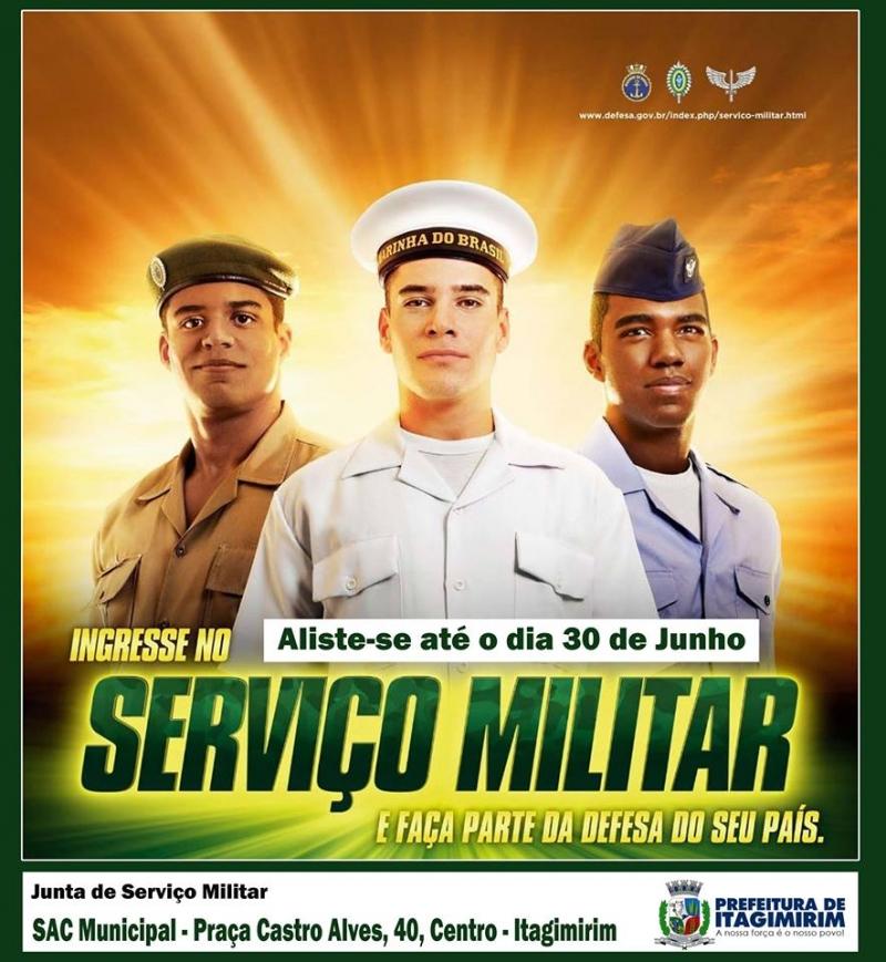 Jovens podem se alistar pelo site www.alistamento.eb.mil.br. (Ascom-Itagimirim)