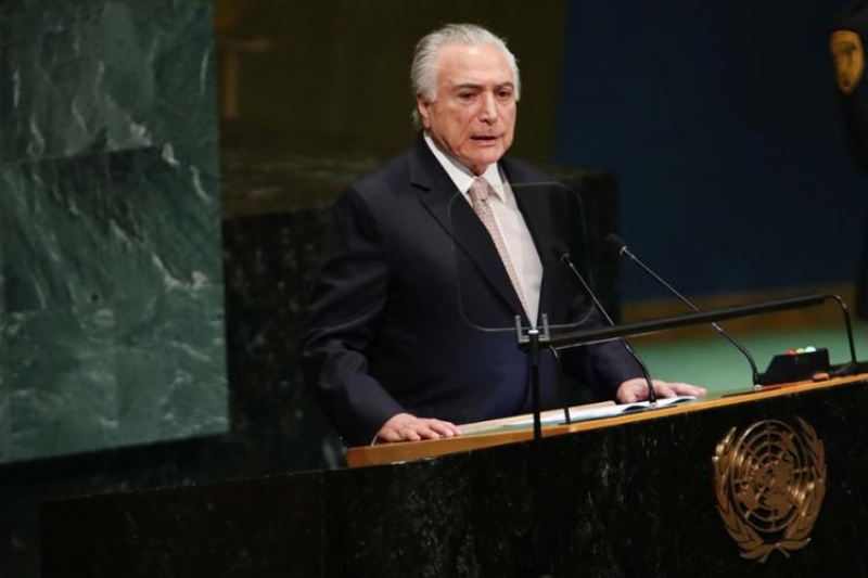 Presidente Temer discursando na sede das Nações Unidas. (Reprodução)