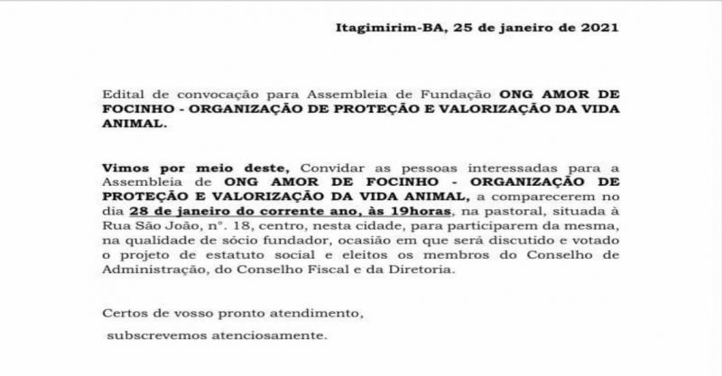 Edital de convocação da ONG Amor de Focinho.