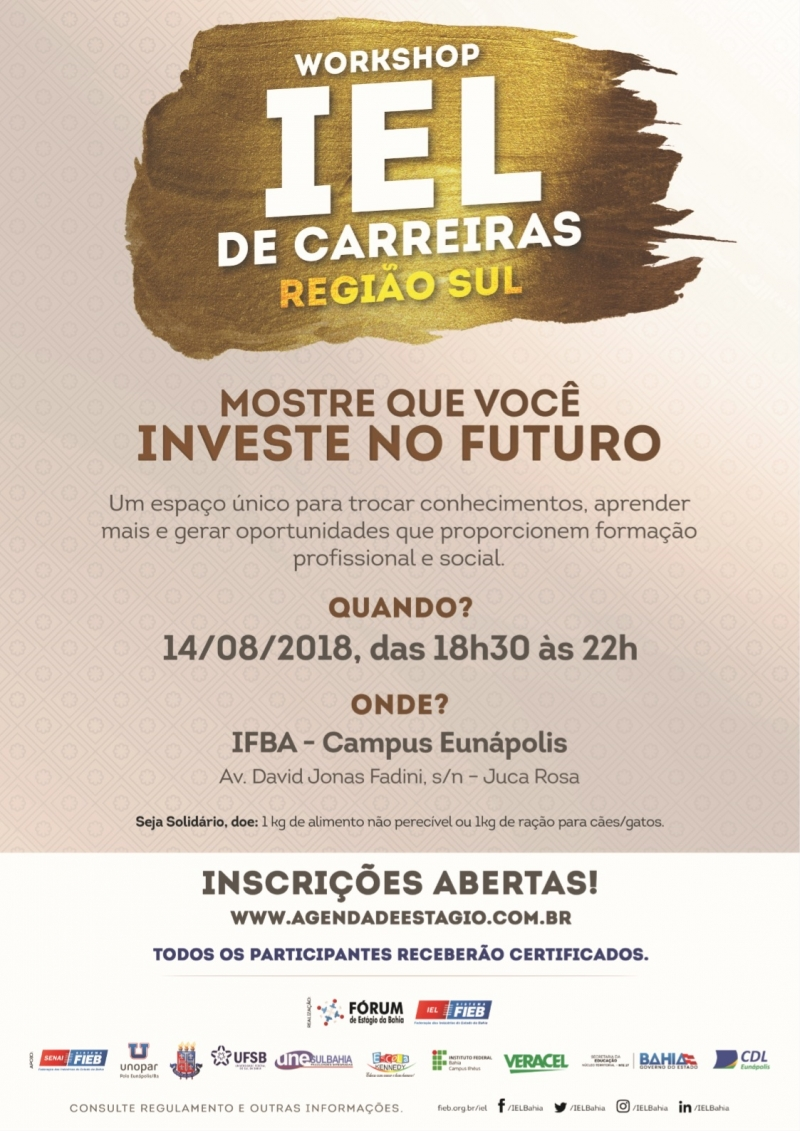 O evento acontece no dia 14/08, das 18h30 às 22h, no IFBA de Eunápolis. (Divulgação)