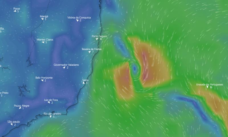 Marinha divulgou alerta sobre ciclone tropical no Oceano Atlântico. (Reprodução)