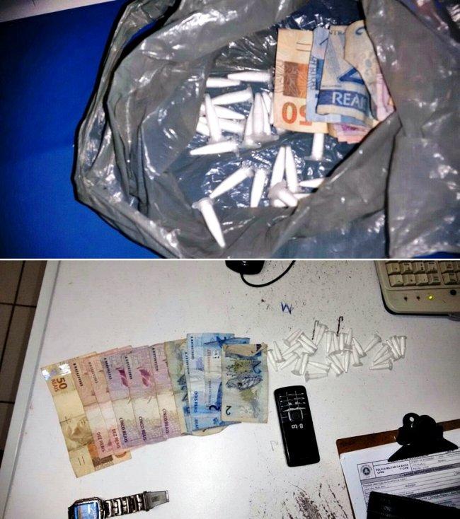 Droga estava enrolada em uma sacola plástica. (Foto: Divulgação/PM)