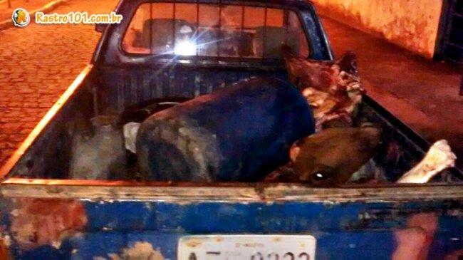 Veículo que seria usado para transportar a carne foi abandonado pelos bandidos. (Foto: Divulgação/PM)