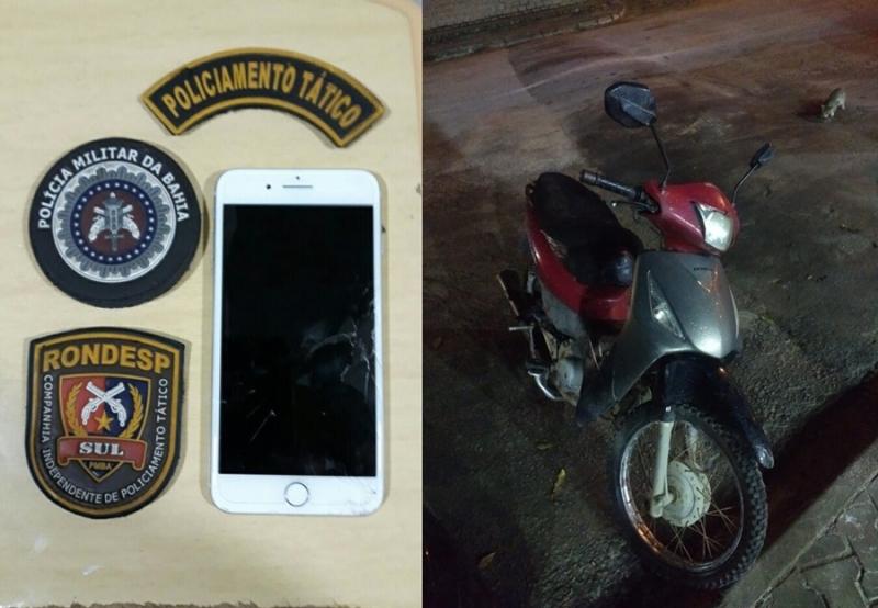Iphone e motocicleta que estão em poder dos bandidos. (Divulgação/PM-BA)