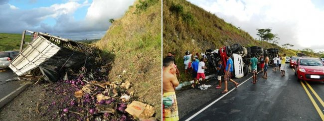 Carreta tombou na BR-101 próximo à entrada do município de Itapebi. (Foto: Arnaldo Alves/Itapebiacontece))
