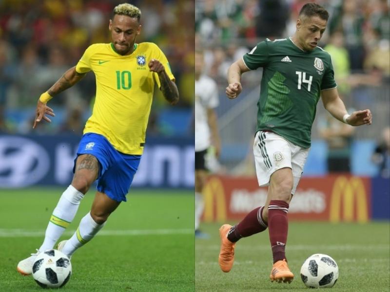 Neymar e Chicharito Hernández, estrelas do confronto decisivo. (Imagem: Reprodução)