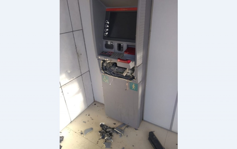 Caixa eletrônico atacado em Mascote. (Imagem: Polícia Militar)