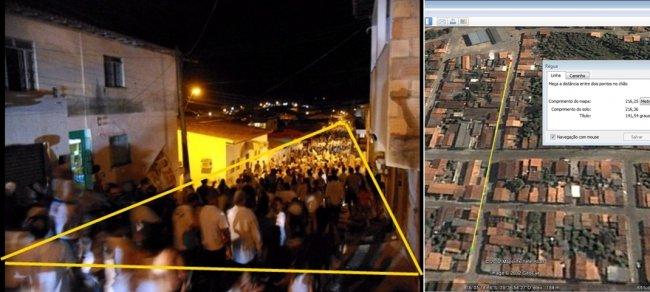 Analisando a imagem da rua e definindo os limites da multidão, considerando o tamanho de 7 metros para a largura da rua sem a calçada e duas pessoas por metro quadrado, estima-se mais de 3 mil pessoas para o evento na imagem.