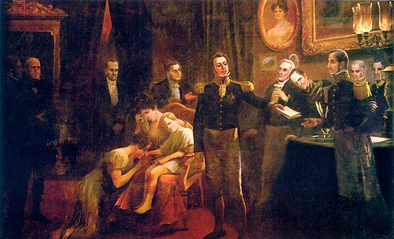 Dom Pedro I entrega sua carta de abdicação