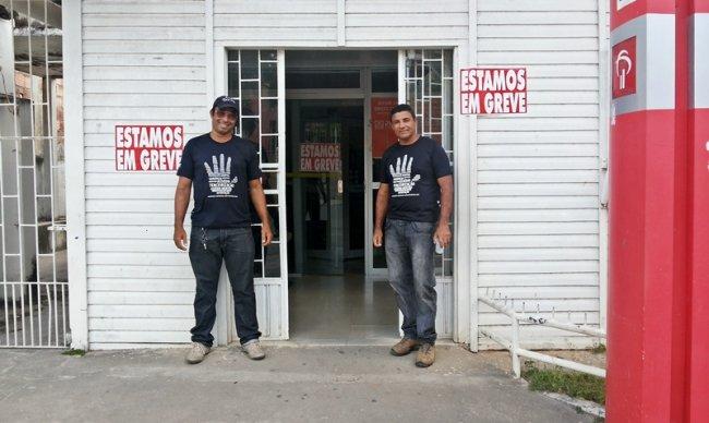 Agência em Itagimirim aderiu a greve nacional na manhã desta quarta-feira. (Foto: Rastro101)