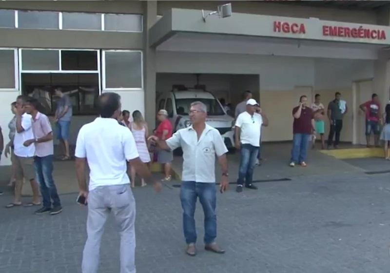 Homem baleado foi encaminhado ao HGCA. (Reprodução/Tv Subaé)