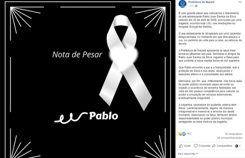 Prefeitura de Nazaré divulgou nota lamentando o ocorrido. (Foto: Reprodução/Redes Sociais)