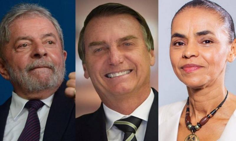Lula, Bolsonaro e Marina Silva, que lideram a pesquisa sobre a corrida presidencial 2018. (Imagem: Reprodução)