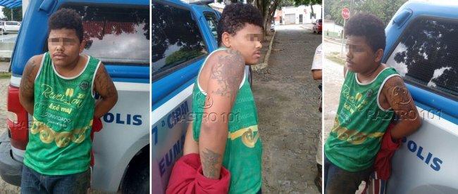 Um dos suspeitos foi preso pela Polícia de Itagimirim. (Divulgação / PM)