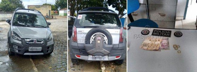 Dinheiro e veículo roubado foram recuperados após ação da polícia. (Foto: Divulgação/PM)