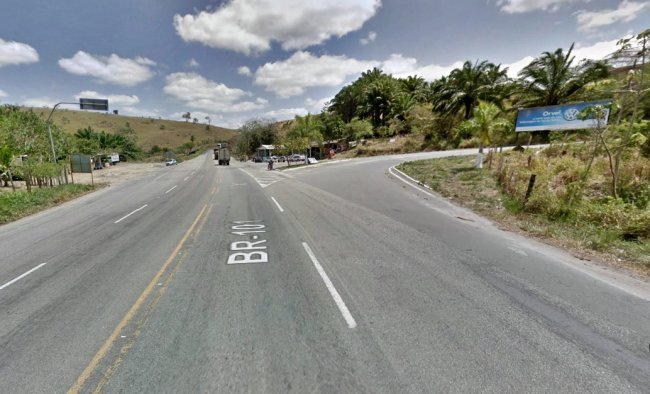 Trevo que liga a BR-101 com o município de Itapebi. (Imagem: Google)