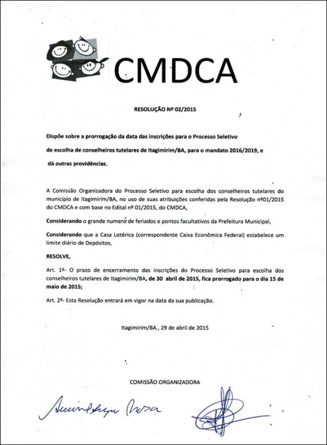 Prorrogado prazo para inscrições no Conselho Tutelar de Itagimirim