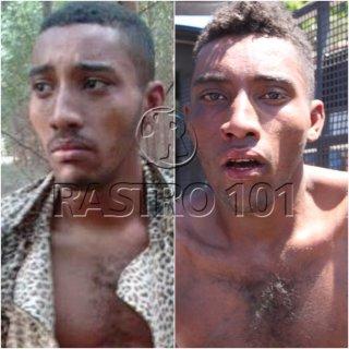 Suspeito capturado em Itagimirim é idêntico ao homem que aparece em uma foto divulgada pela polícia. (Foto: Rastro101/Divulgação PM)