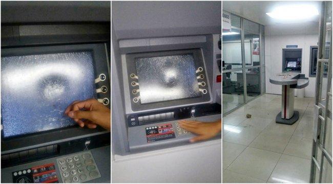 Ato de vandalismo deixou o caixa eletrônico do Bradesco danificado. (Foto: Internauta/Rastro101)