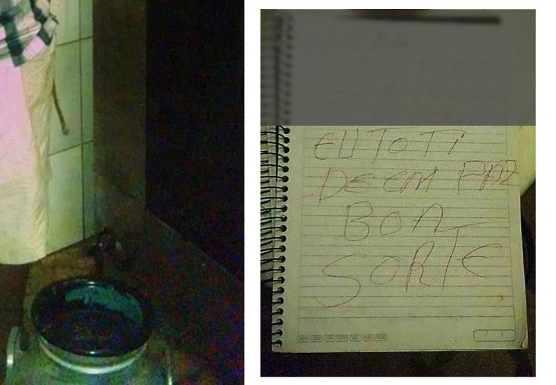 Bilhete que teria sido deixado pelo Açougueiro (Foto: Água Preta News)